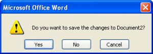Microsoft Word message