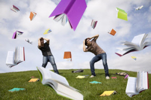 students raining books sm 300x199 The Problem with Carefully Crafted Headlines